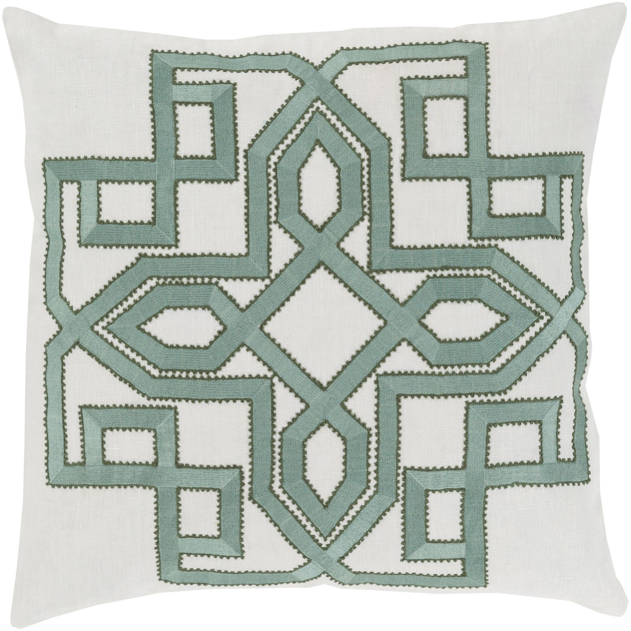 18 sage green and gray lavish labyrinth square throw pillow cover