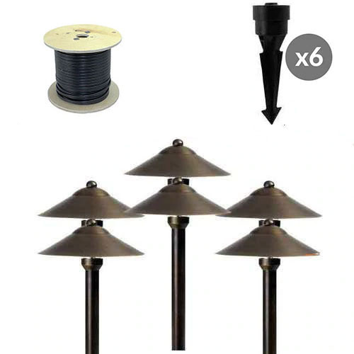 https www aqlightinggroup com outdoor lighting outdoor diy lighting kits diy garden landscape lights 30 off aqlighting brass lifetime led landscape lighting kit 6 path