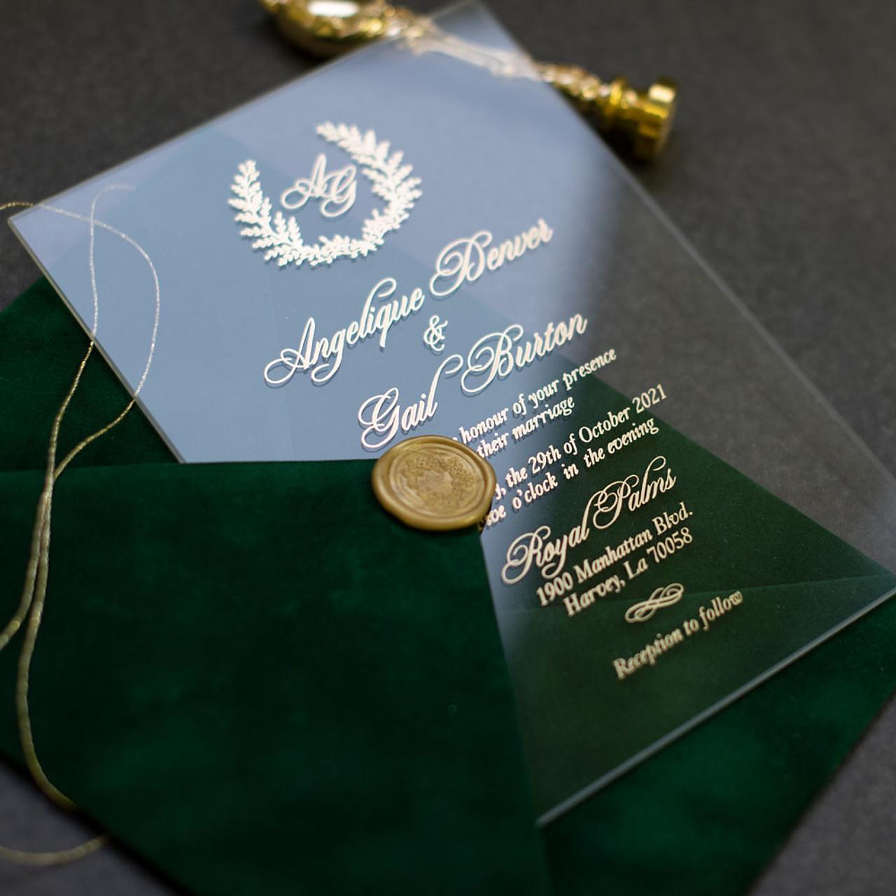 green velvet glass wedding