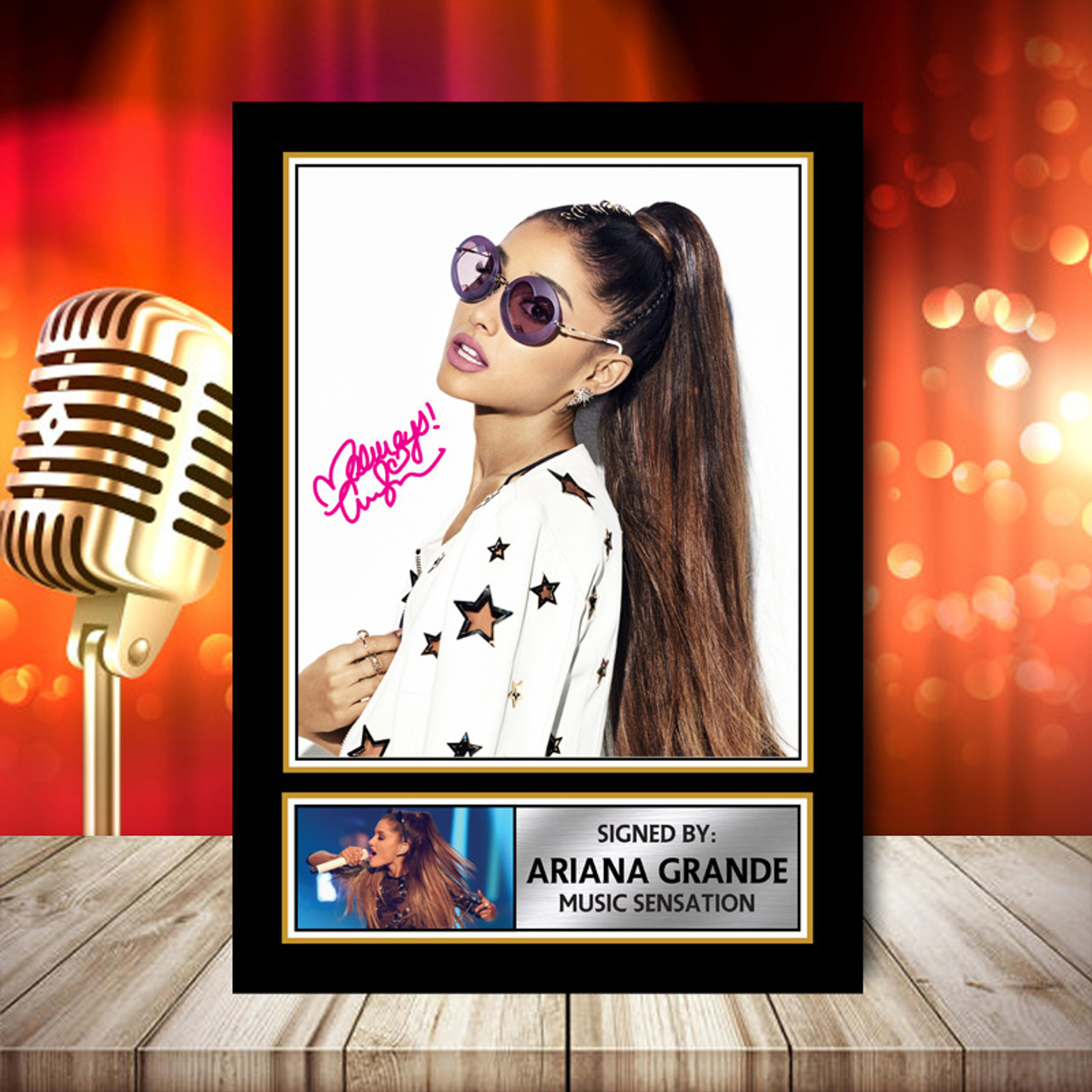ariana grande signed autographed music star print