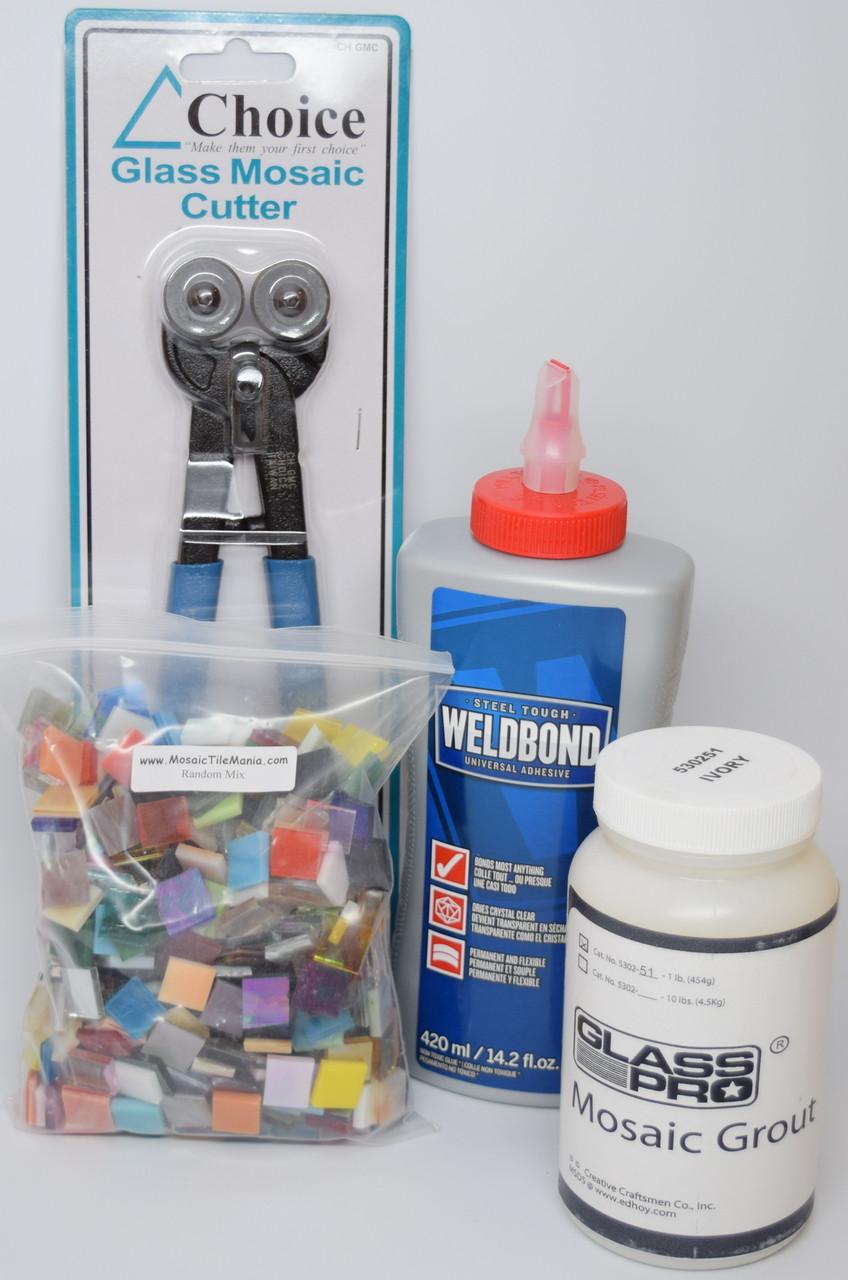 mosaic tile art starter kit weldbond glue nippers grout tiles