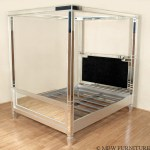 Silver Art Deco Mirrored Queen Canopy Bed