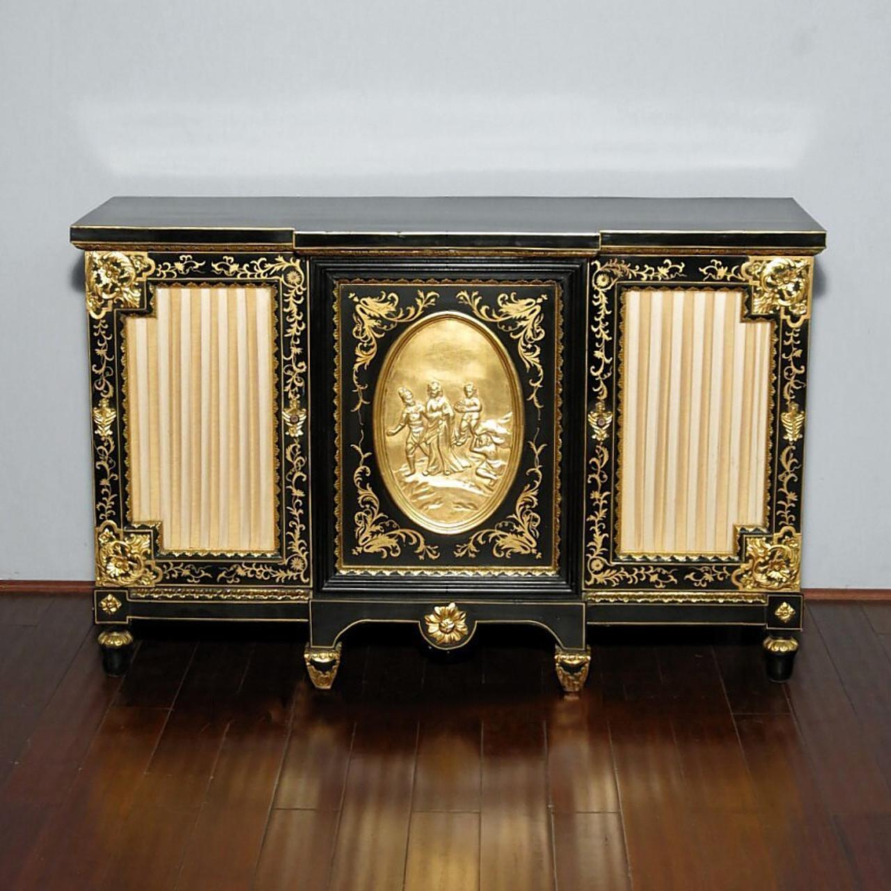 Black Gold Italian Buffet Sideboard Server Cabinet