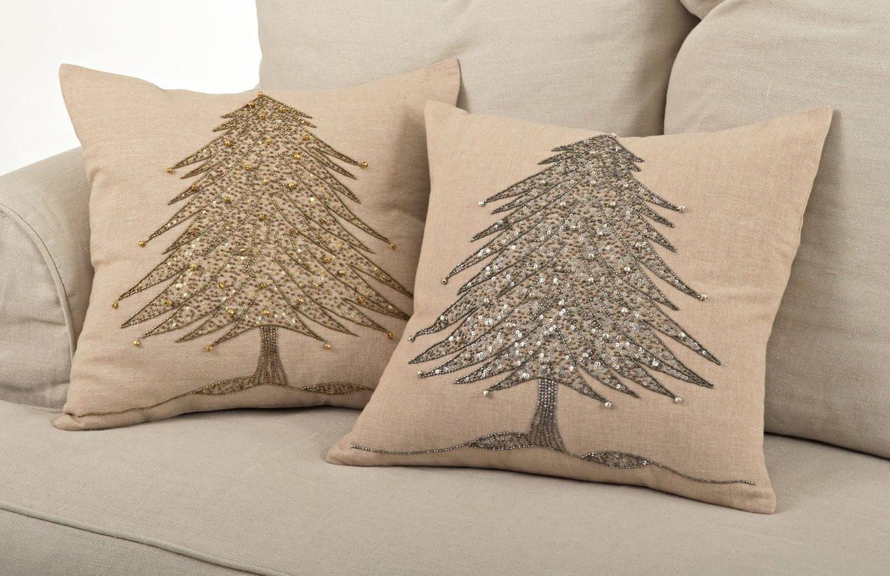 sapin de noel beaded christmas tree design throw pillow