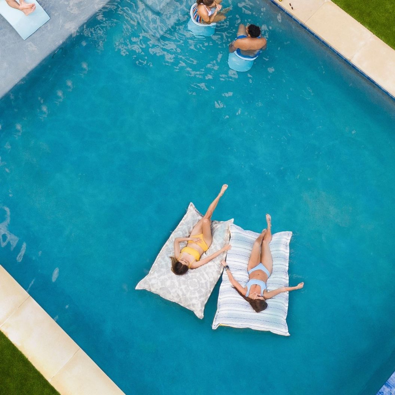 laze pillow luxury pool float shibori gray sunbrella