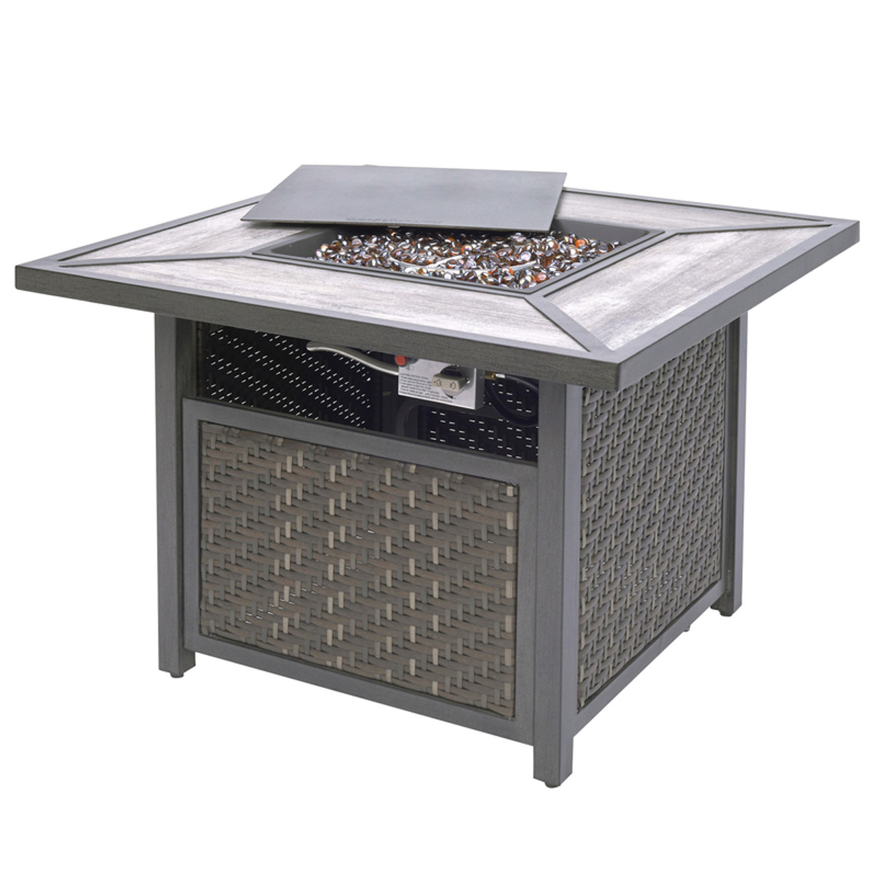 living accents gas fire table propane fire table 24 61 in h x 37 2 in w x 37 2 in d steel