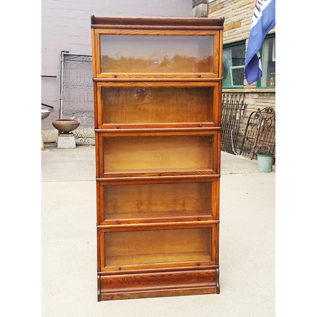 F19055 Antique Revival Period Oak 5 Stack Barrister Bookcase