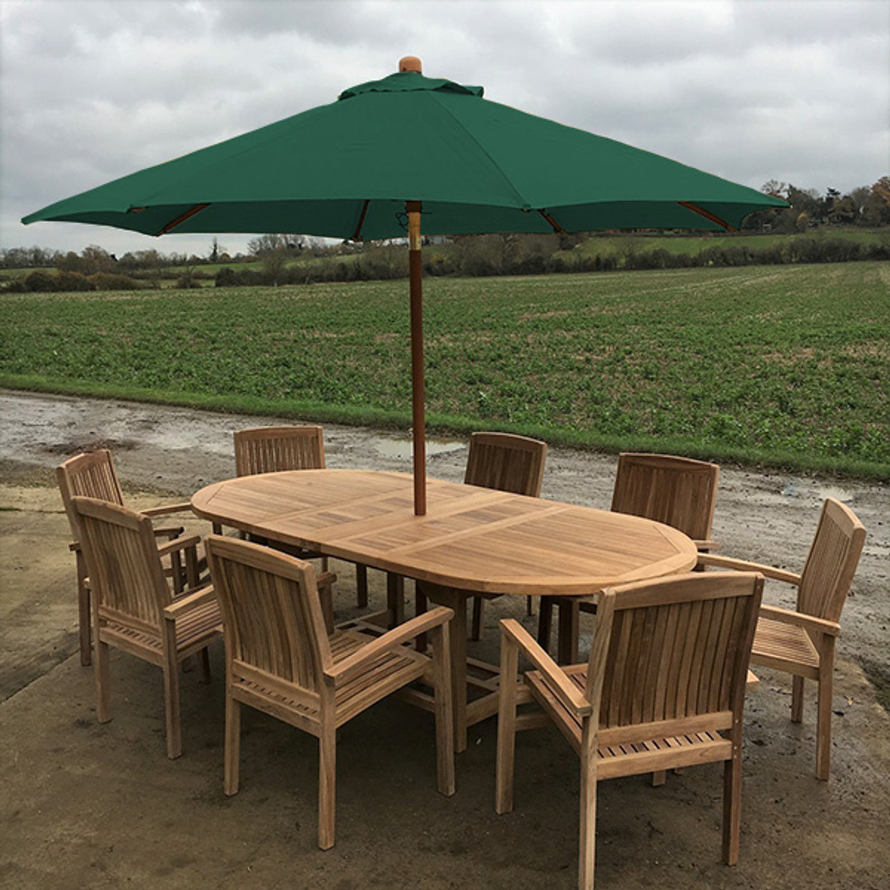 extending oval solid teak 8 seater table with henley chairs garden set 180cm 240cm