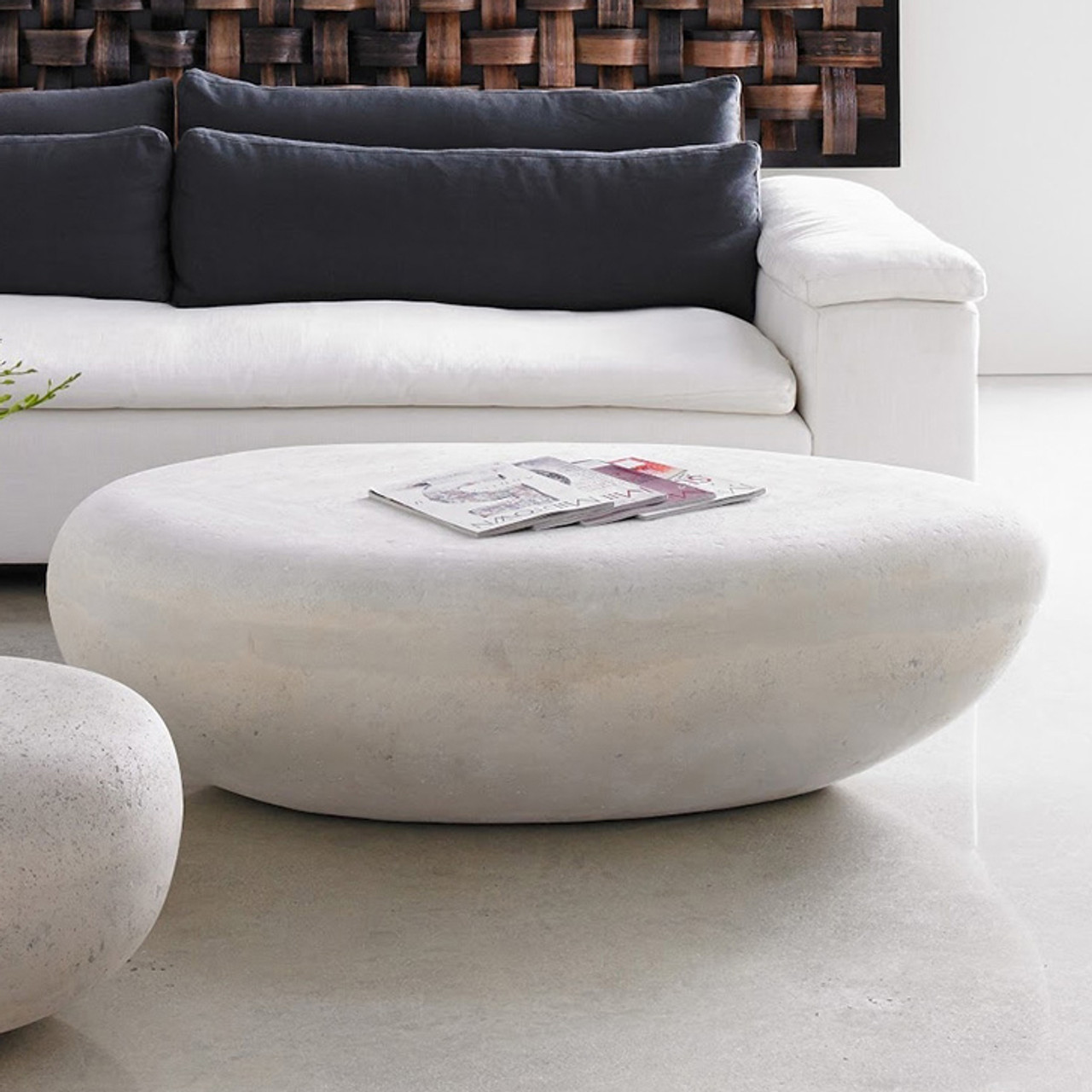 river stone oval outdoor coffee table large