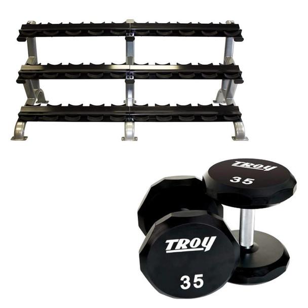 troy 5 75 lb urethane dumbbells rack
