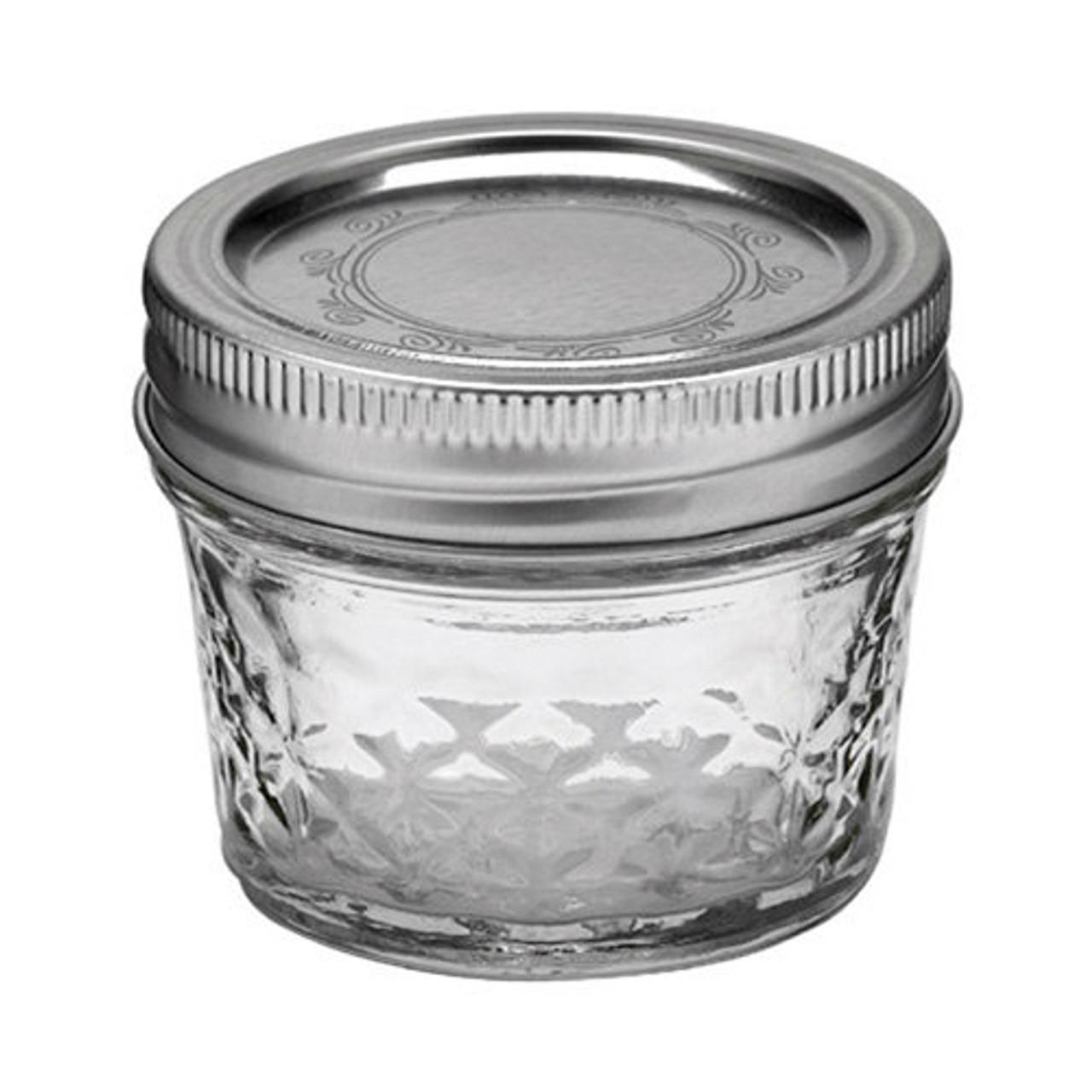 ball 4 oz quilted crystal mason jar silver vacuum seal lid cj650