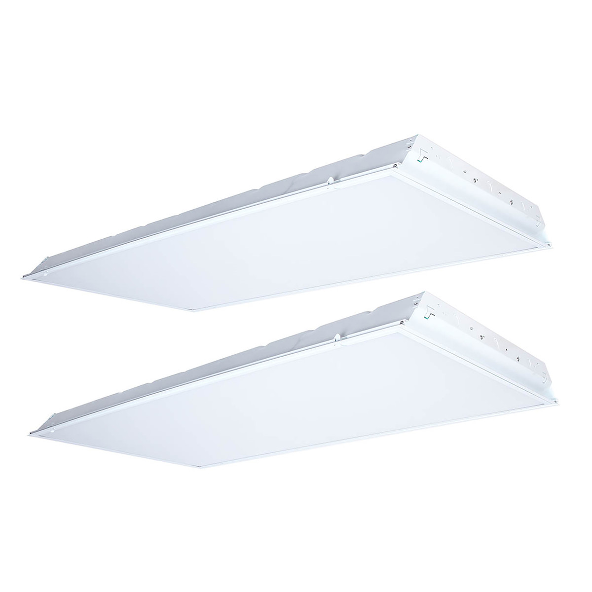 case of 2 led 2x4 recessed troffer 52w 5200 lumens dimmable globalux