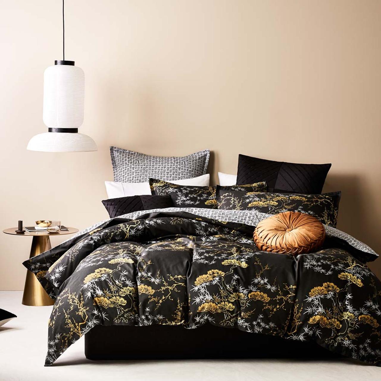 bonsai black quilt cover set king bed
