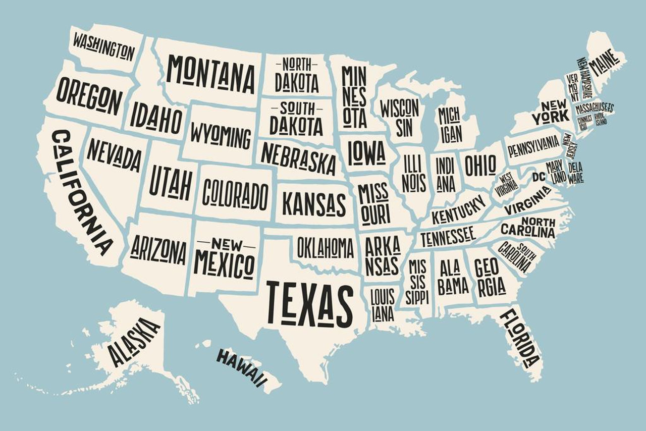 Across many industries, colloquial terms for products and inventions have a real staying power. Usa United States Map States With State Names Decorative Travel World Map With Detail Map Posters