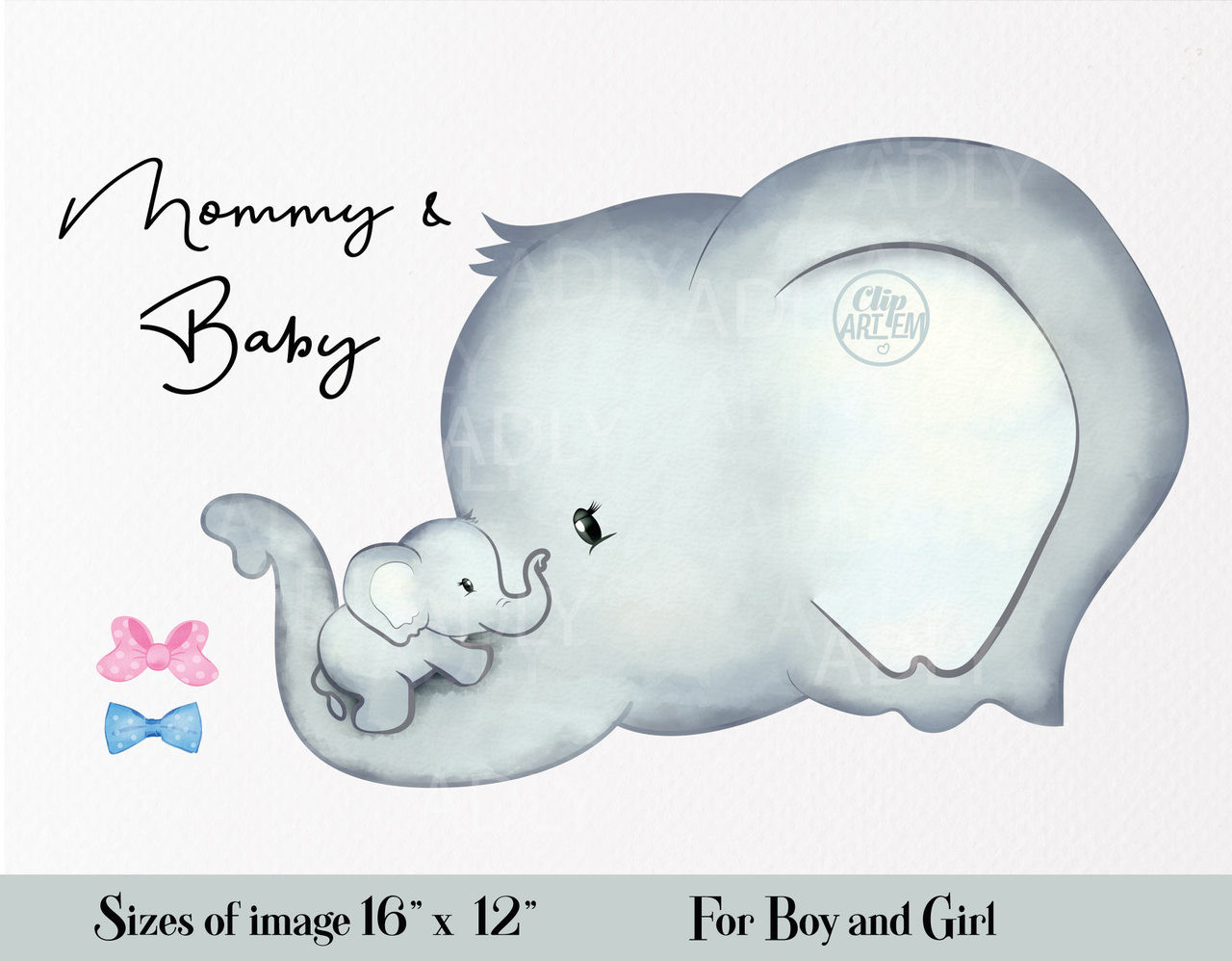 Cute Elephant Mommy And Baby Clipart With Two Bow Ties In Pink Blue Cliparts For Invitations
