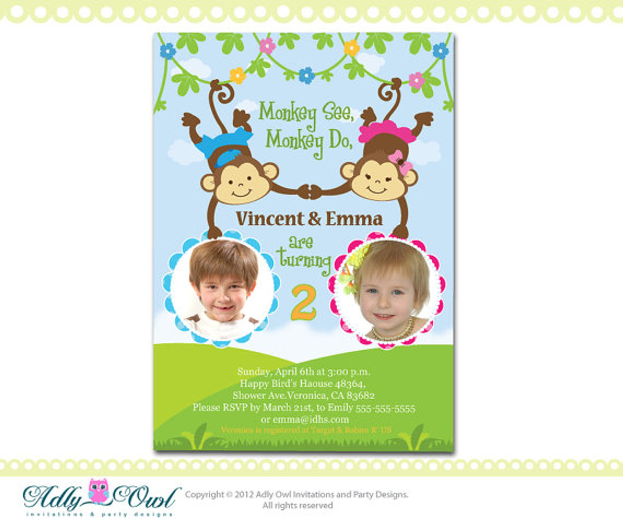 personalized twin invite second birthday invitation card for boy and girl with monkeys only digital file you print