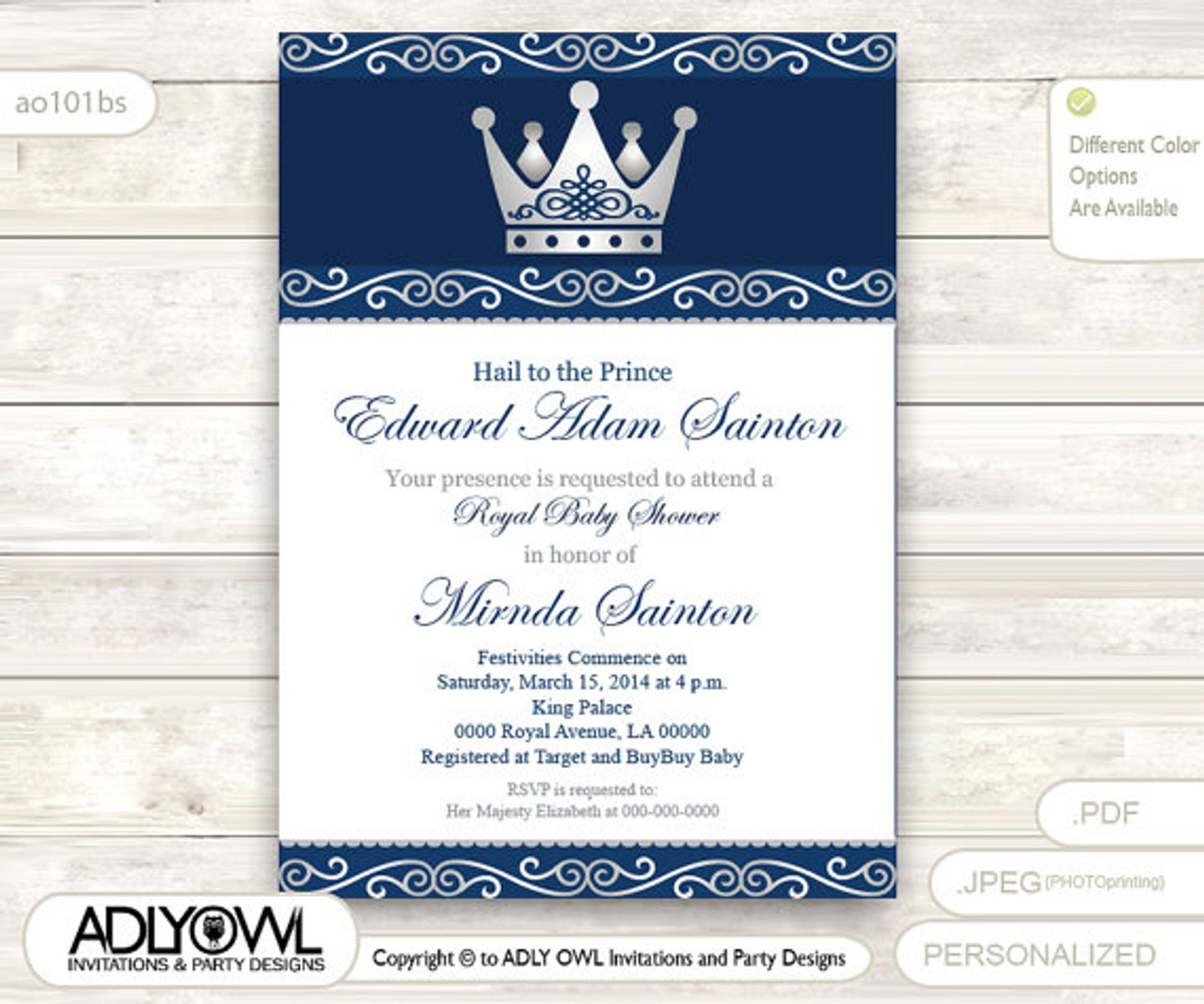silver blue little prince royal baby shower invitation prince diy party invitation for boy king baby shower dark blue navy gray instant download