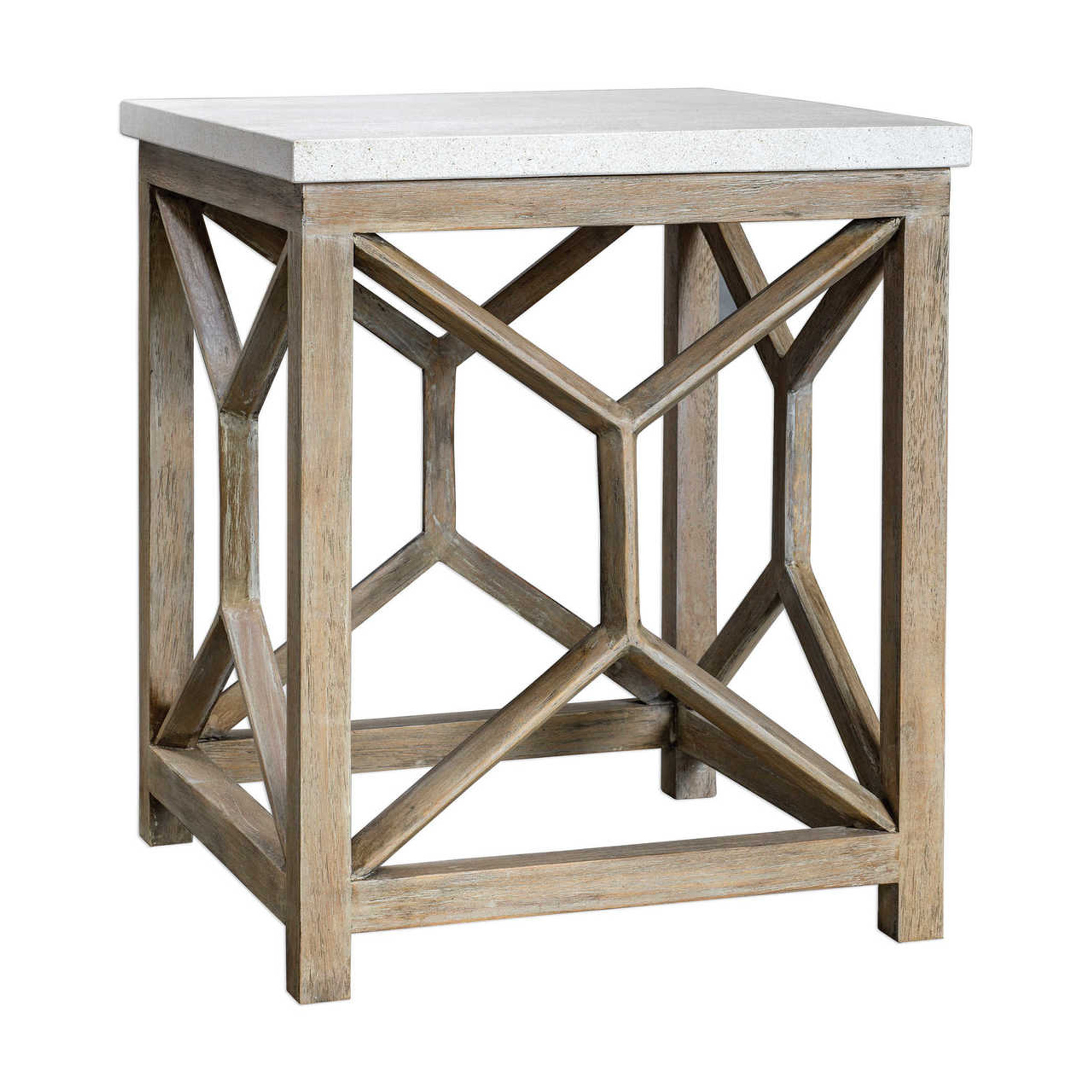 catali ivory stone end table