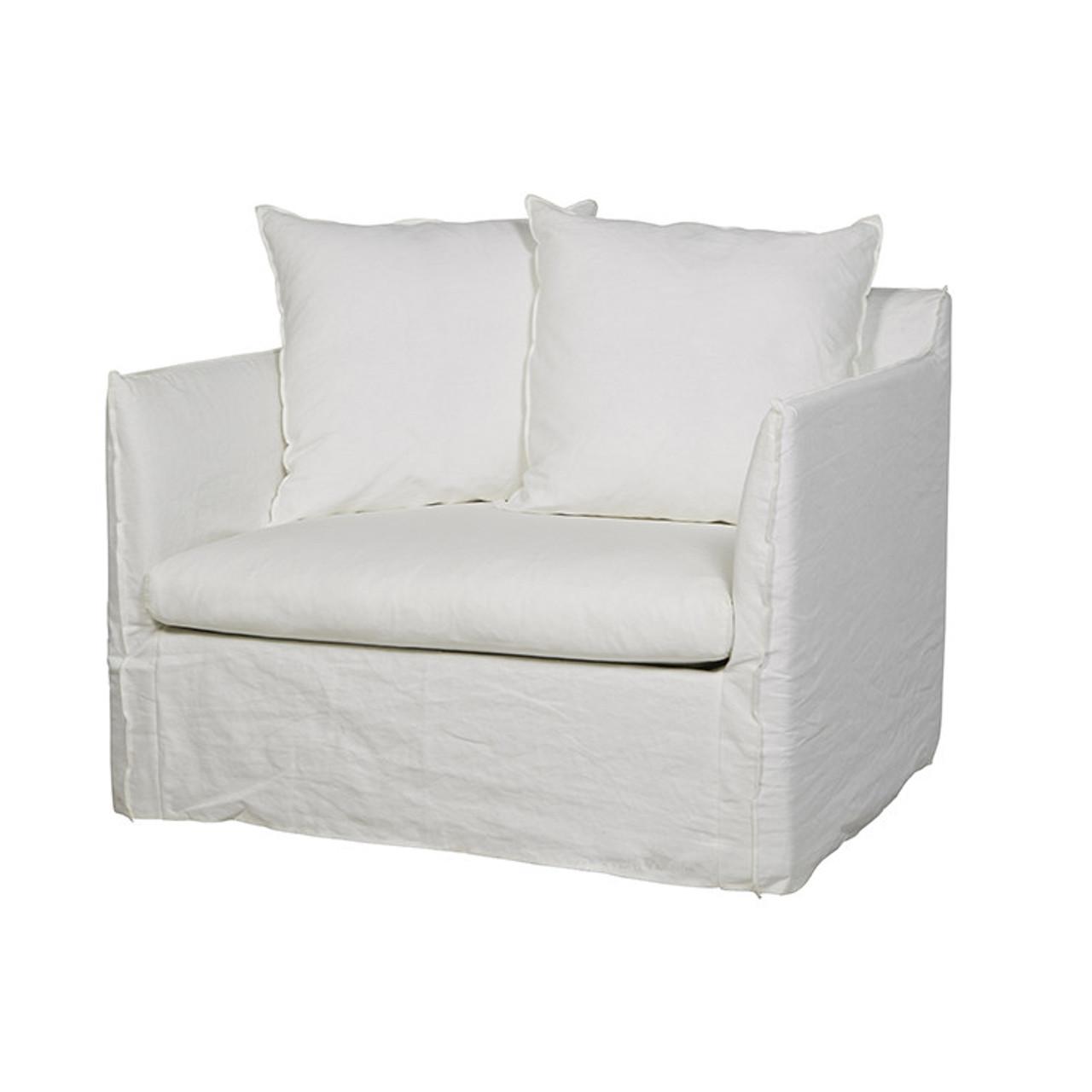Vittoria Slip Cover Sofa Chair Milk Globewest