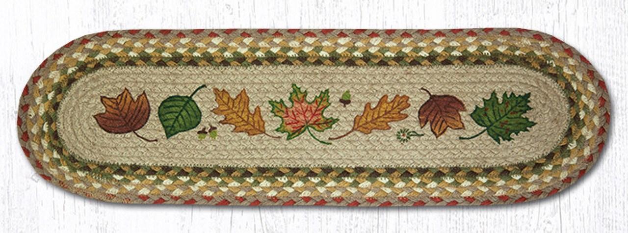 8 25 X 27 Autumn Leaves Braided Jute Oval Stair Tread Rugs By   Braided Stair Tread Rugs   Olive Burgundy   Tree Hill   Rhody Rug   Shape Oval   Indoor Outdoor