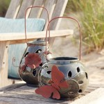 7 75 Leaf Pattern Ceramic Candle Lanterns Candle Holders Set Of 2 Candle Accessories Melrose