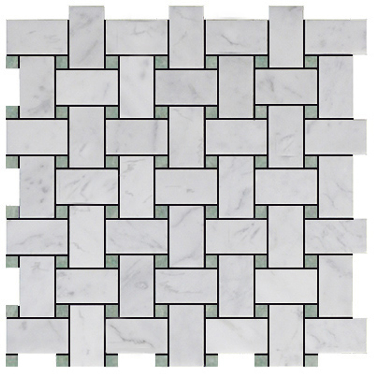 carrara white italian marble basketweave mosaic tile with green dots honed