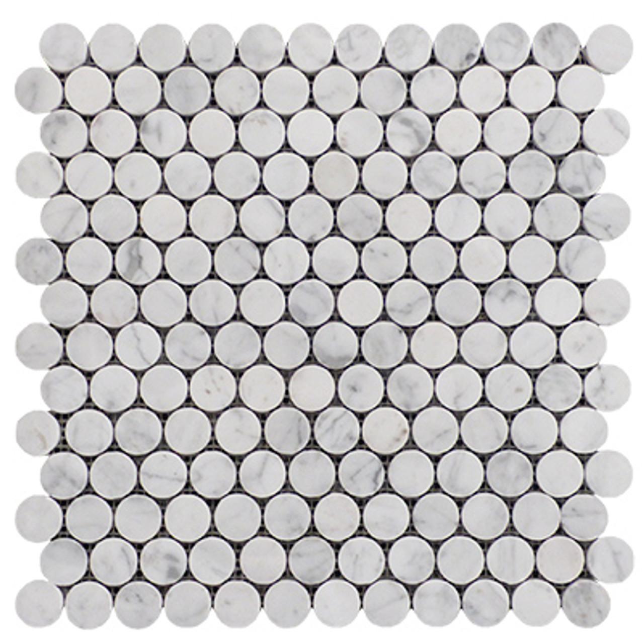 https www carraramarble com white penny round mosaic tile honed