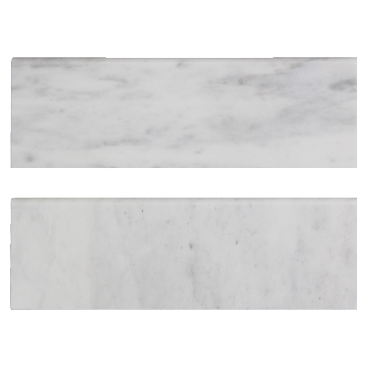 carrara white italian marble 4 x 12 bullnose tile trim polished