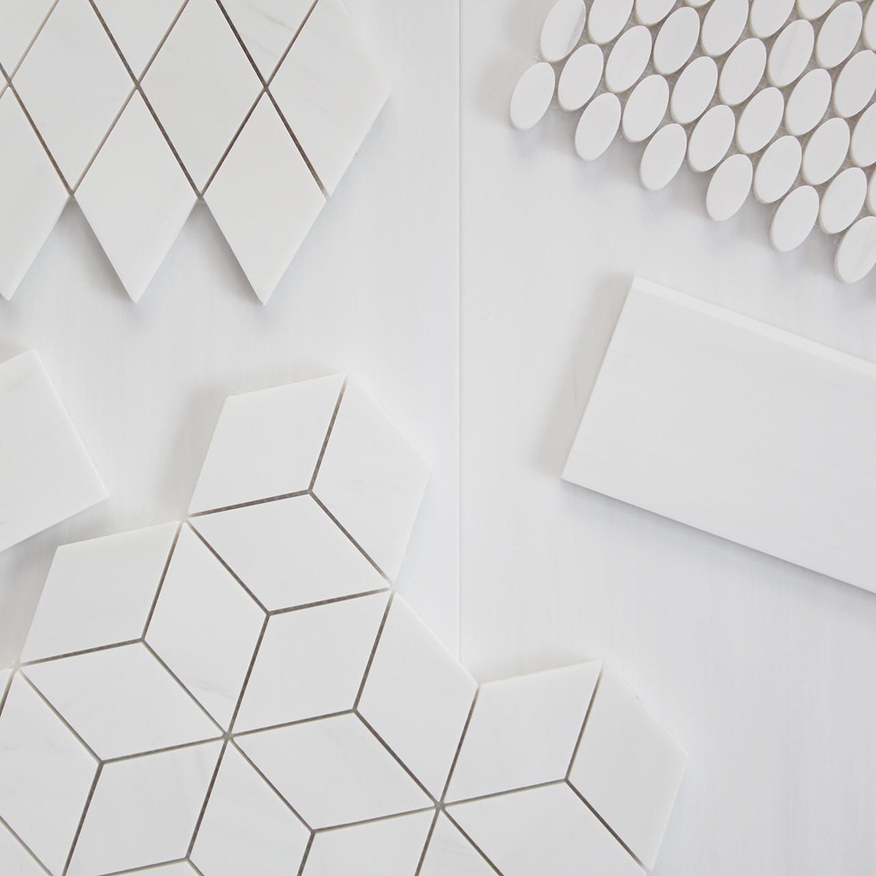 rhombus 3d cube diamond mosaic tile honed