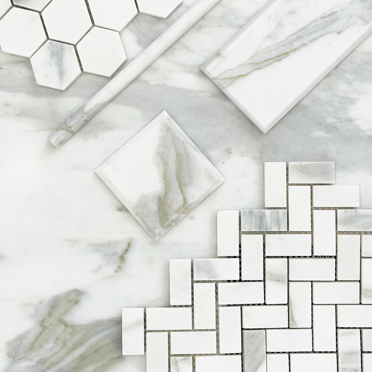 6x12 calacatta gold italian marble wide bevel subway tile honed