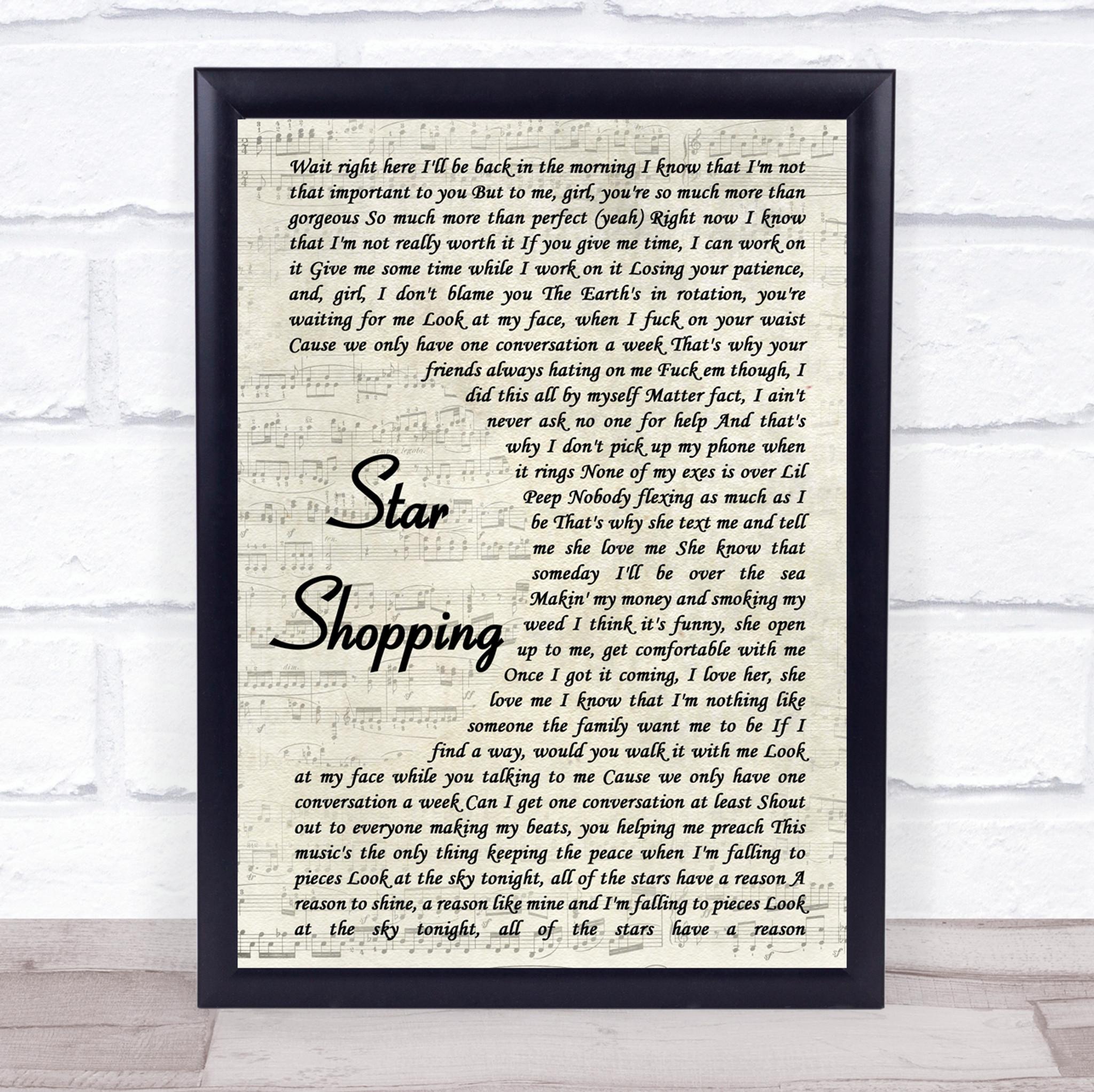 lil peep star shopping vintage script song lyric music gift poster print