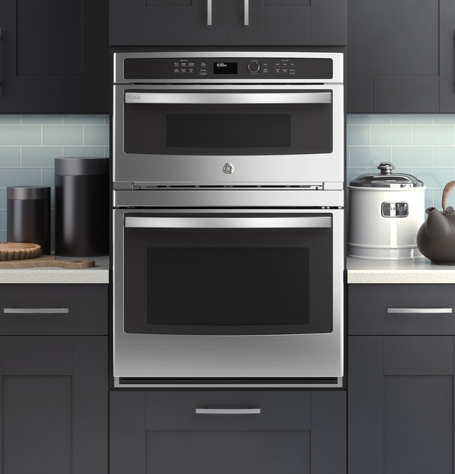 ge profile 30 in combination double wall oven with convection and advantium technology pt9800shss
