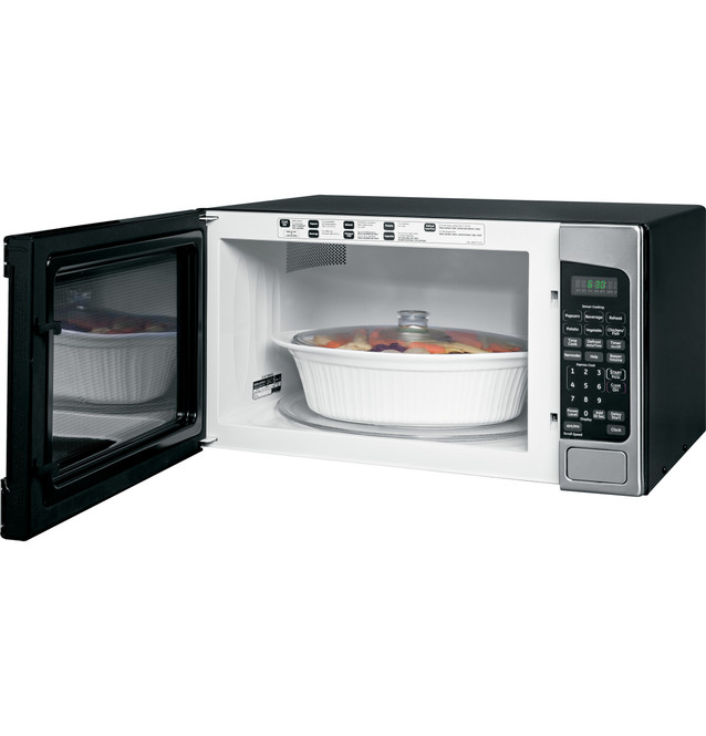 ge 2 0 cu ft capacity countertop microwave oven jes2051snss