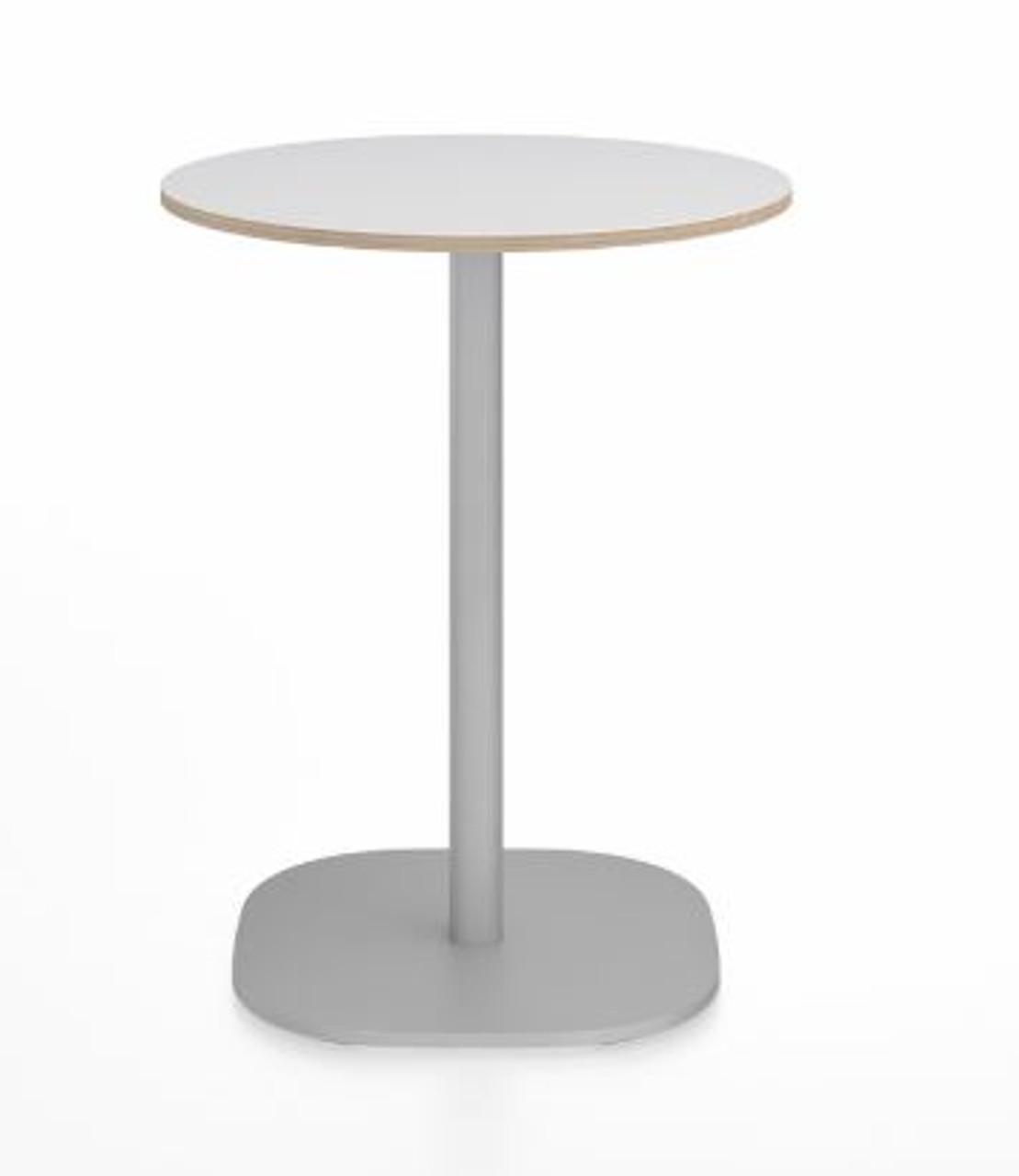 emeco 2 inch flat top round table 24 brushed aluminum base