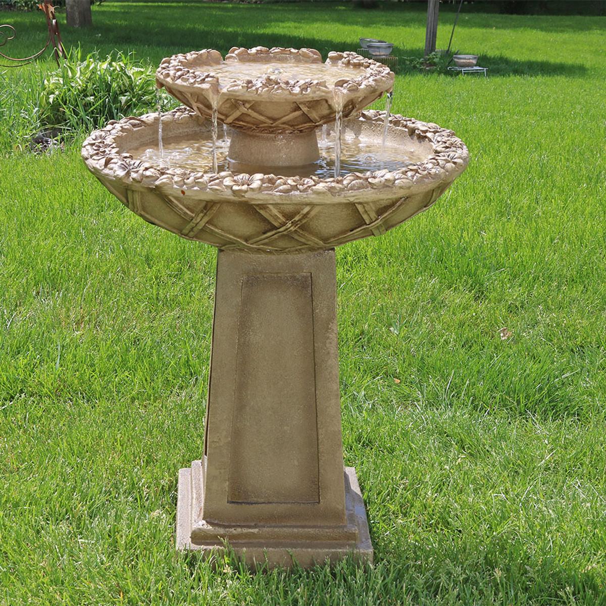 sunnydaze beveled flower 2 tier birdbath water 2 Tier Water Fountain id=58221