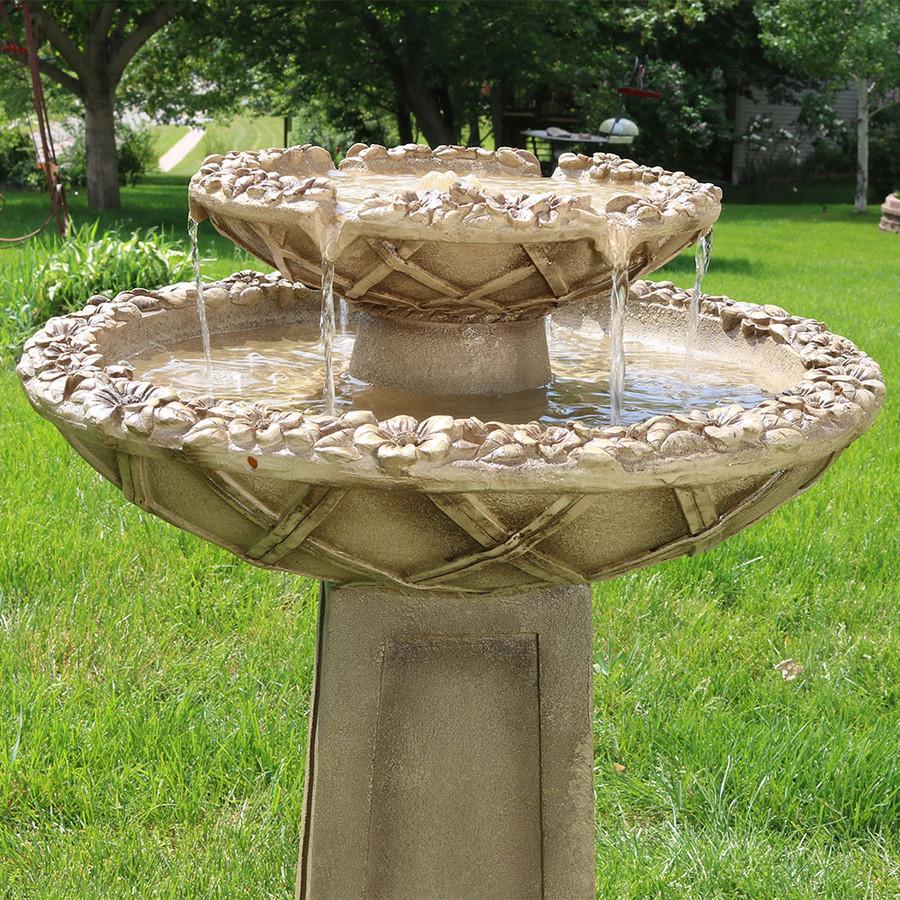 sunnydaze beveled flower 2 tier birdbath water on 2 Tier Water Fountain id=18464
