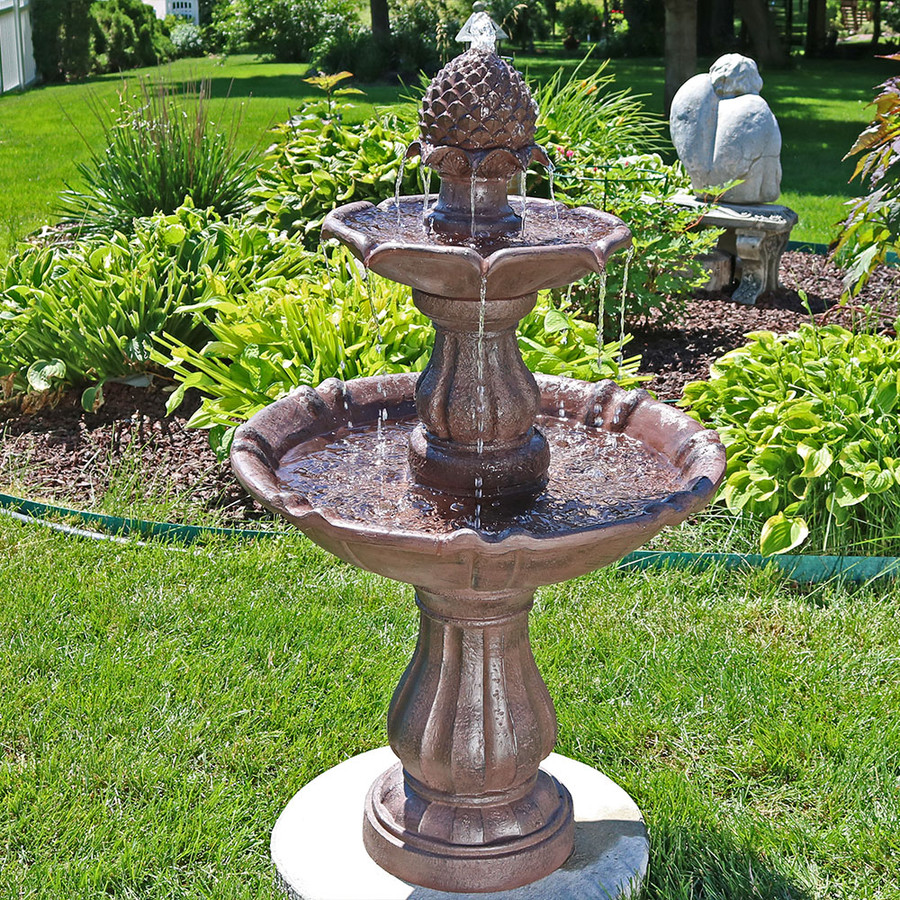 sunnydaze 38 quot 2 tier curved plinth outdoor water 2 Tier Water Fountain id=37367