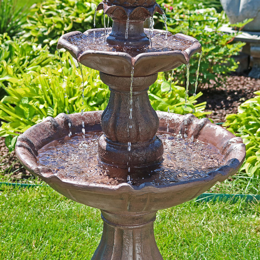 sunnydaze 38 quot 2 tier curved plinth outdoor water 2 Tier Water Fountain id=91644