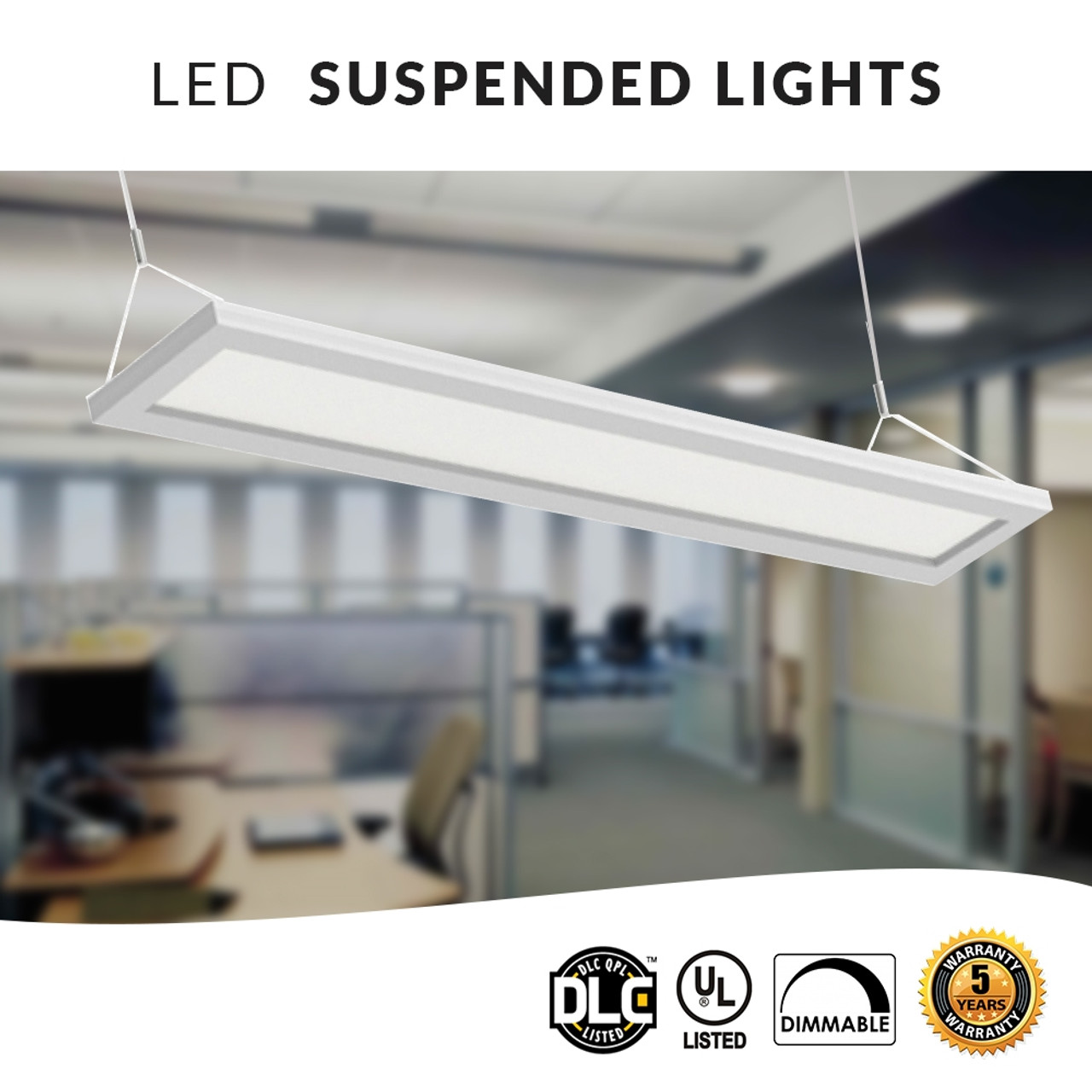 led up down flat panel light direct indirect suspended office lights 4ft 40w