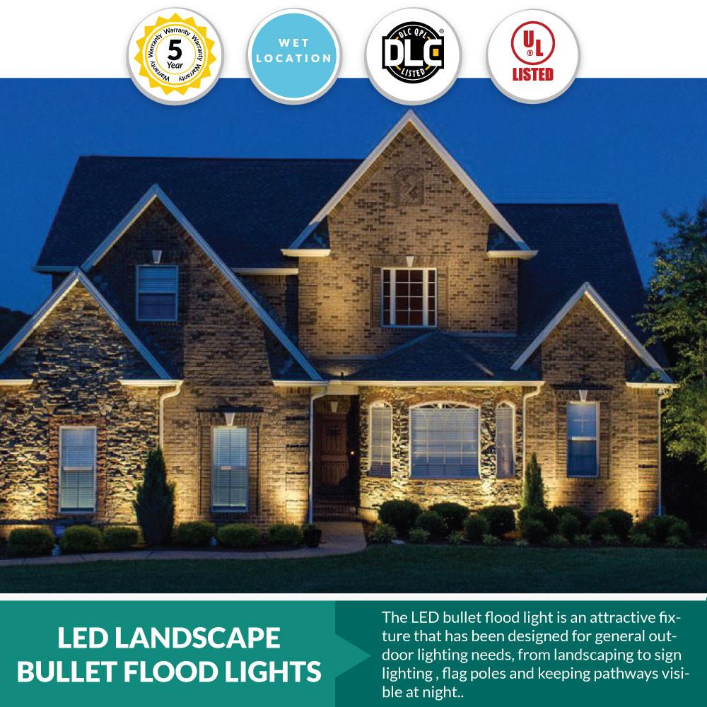 28 watt led landscape bullet flood light series 2 2800lumens 1 2 knuckle mount 5000k cool white color temperature