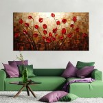 100 Hand Painted Textured Palette Knife Red Flower Oil Painting Abstract Modern Canvas Wall Art Living Room Decor Picture