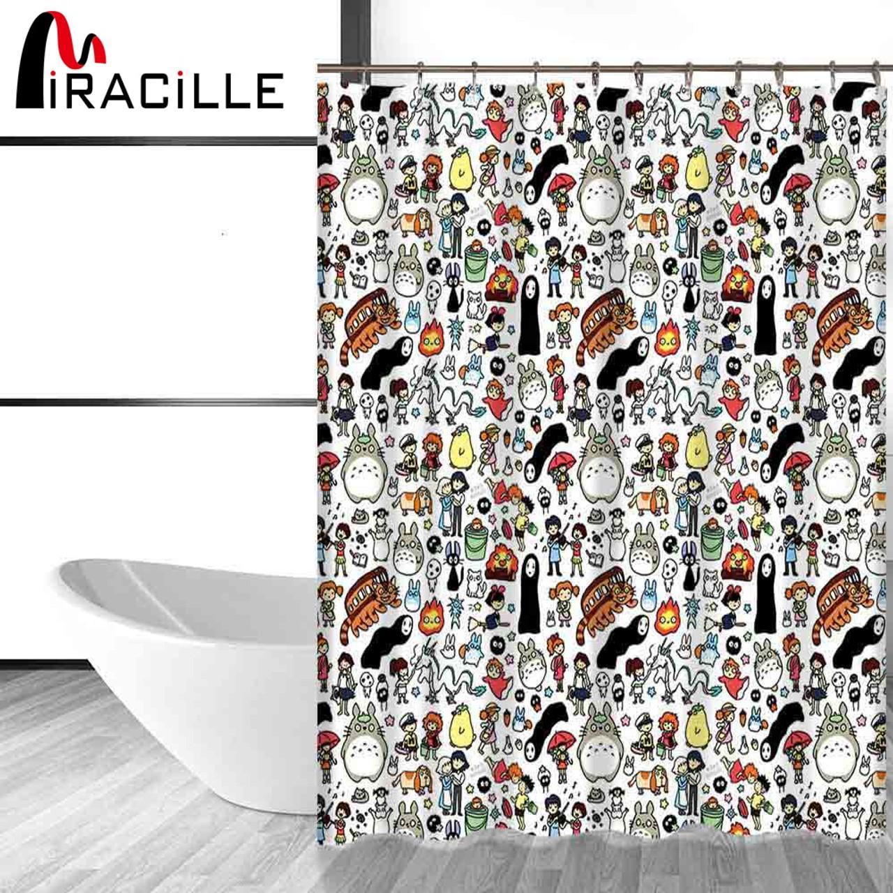 miracille totoro cartoon cute shower curtains bathroom decor bath curtains waterproof polyester fabric kid s curtain 12hooks