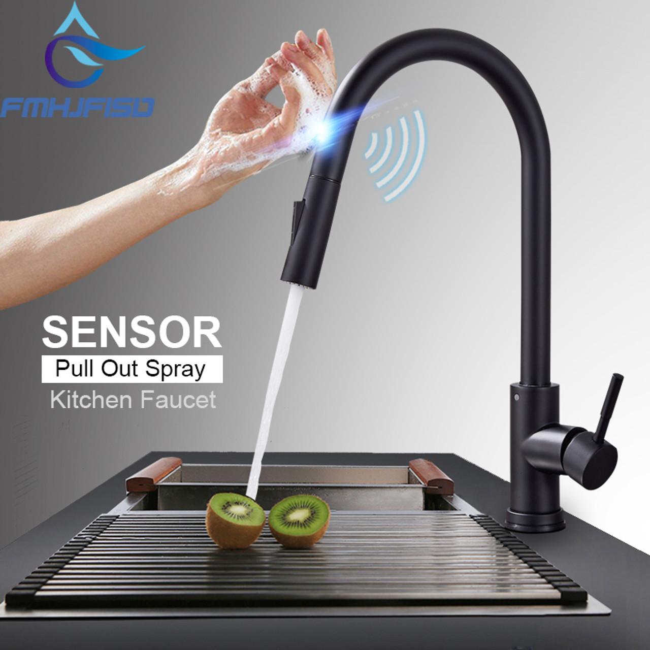 touch sensor matt black kitchen sink