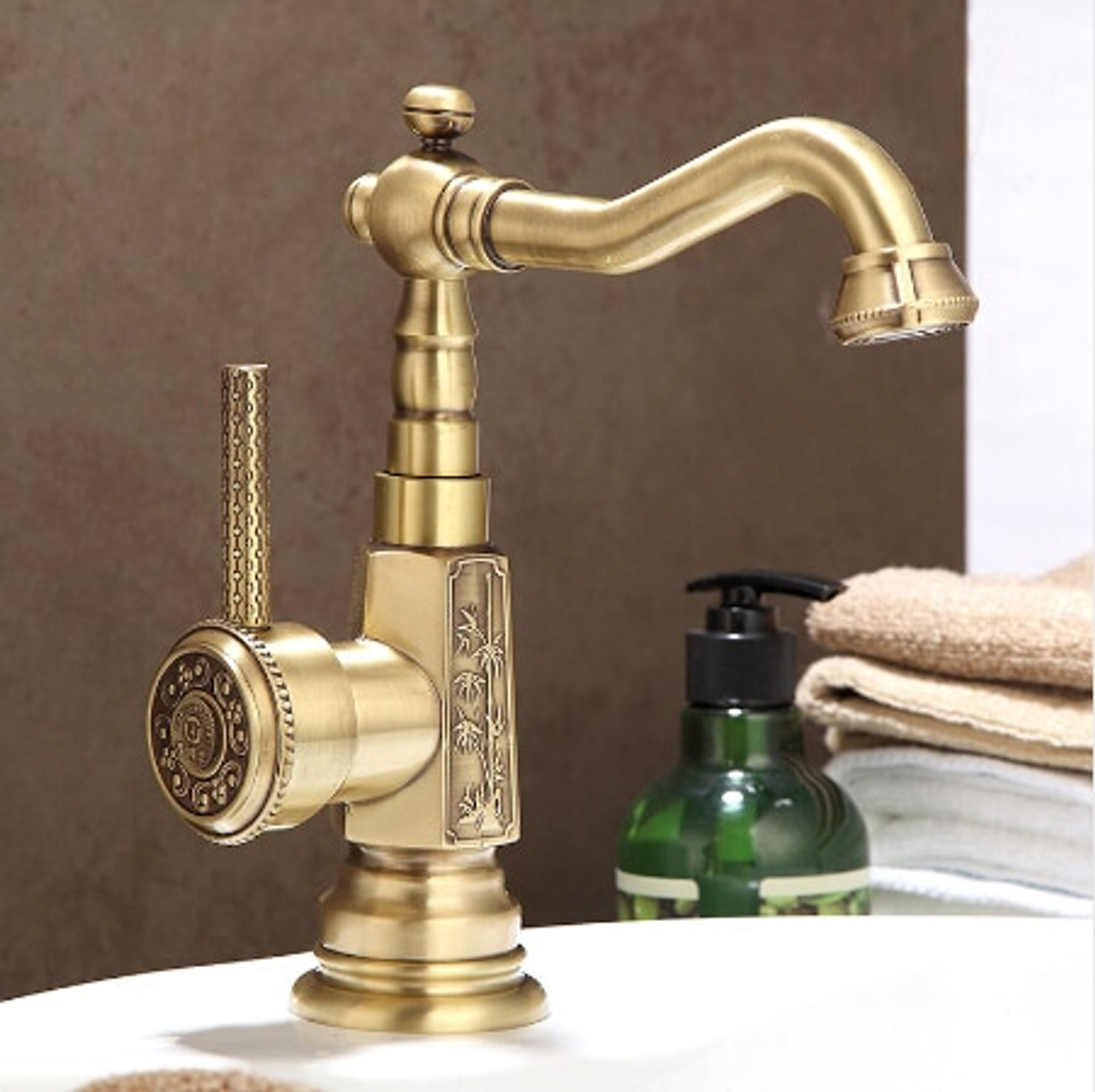 newly wholesale and retail deck mounted basin faucet vintage antique brass bathroom sink basin faucet mixer tap kitchen faucet