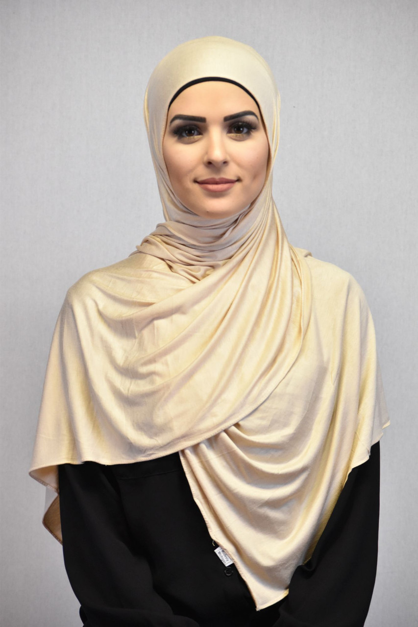 Jasmine |la voilée du voyou| {e.r}. Beige Jersey Hijab I High Quality I Modesty Michigan