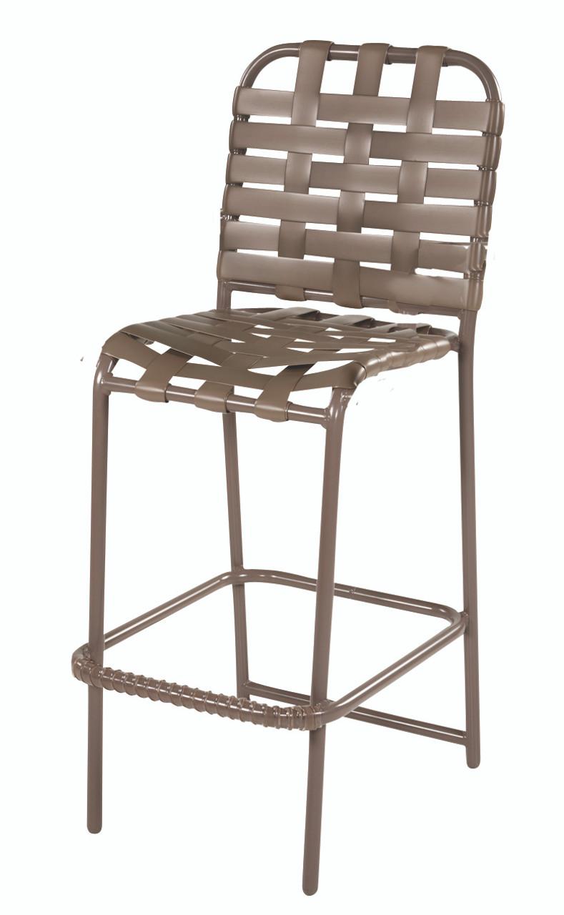 resort st thomas aluminum cross weave strap bar stool