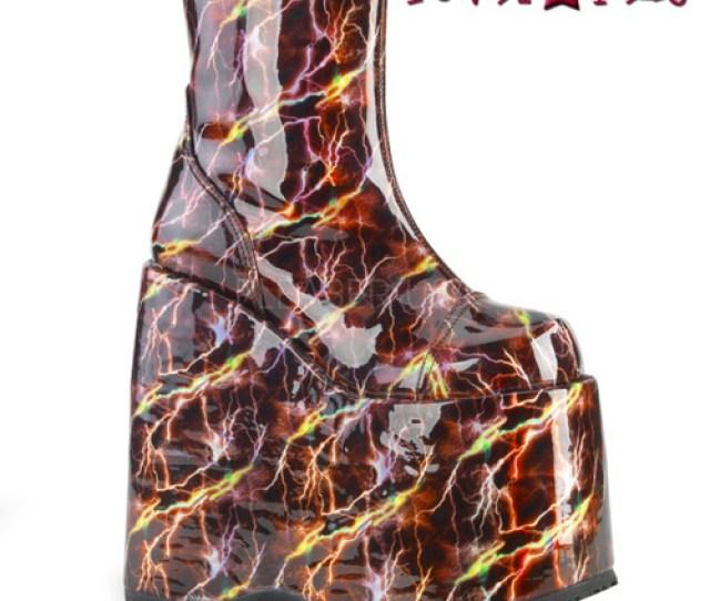 Demonia Boots Slay 204blh Platform With Lightning Print
