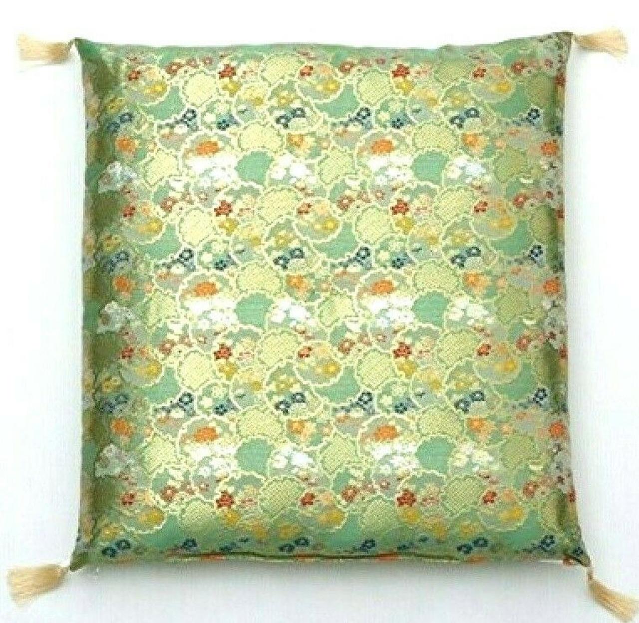 zabuton japanese floor cushion mat kinran gold autumn green japan 59x63cm hattan