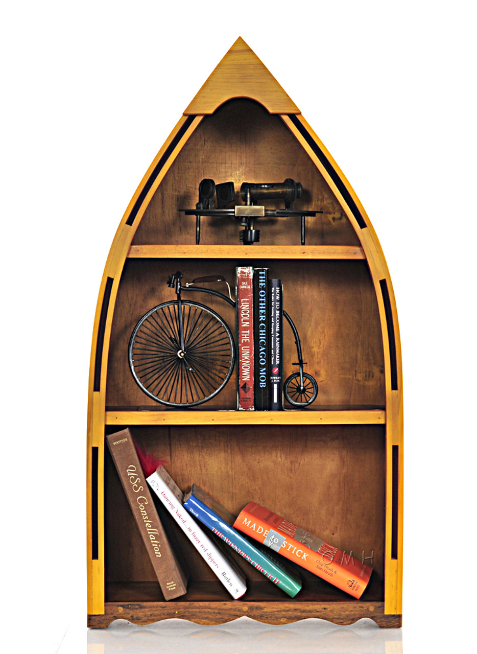 Small Row Boat Shaped Canoe Bookcase Bookshelf 34 Cedar Wood
