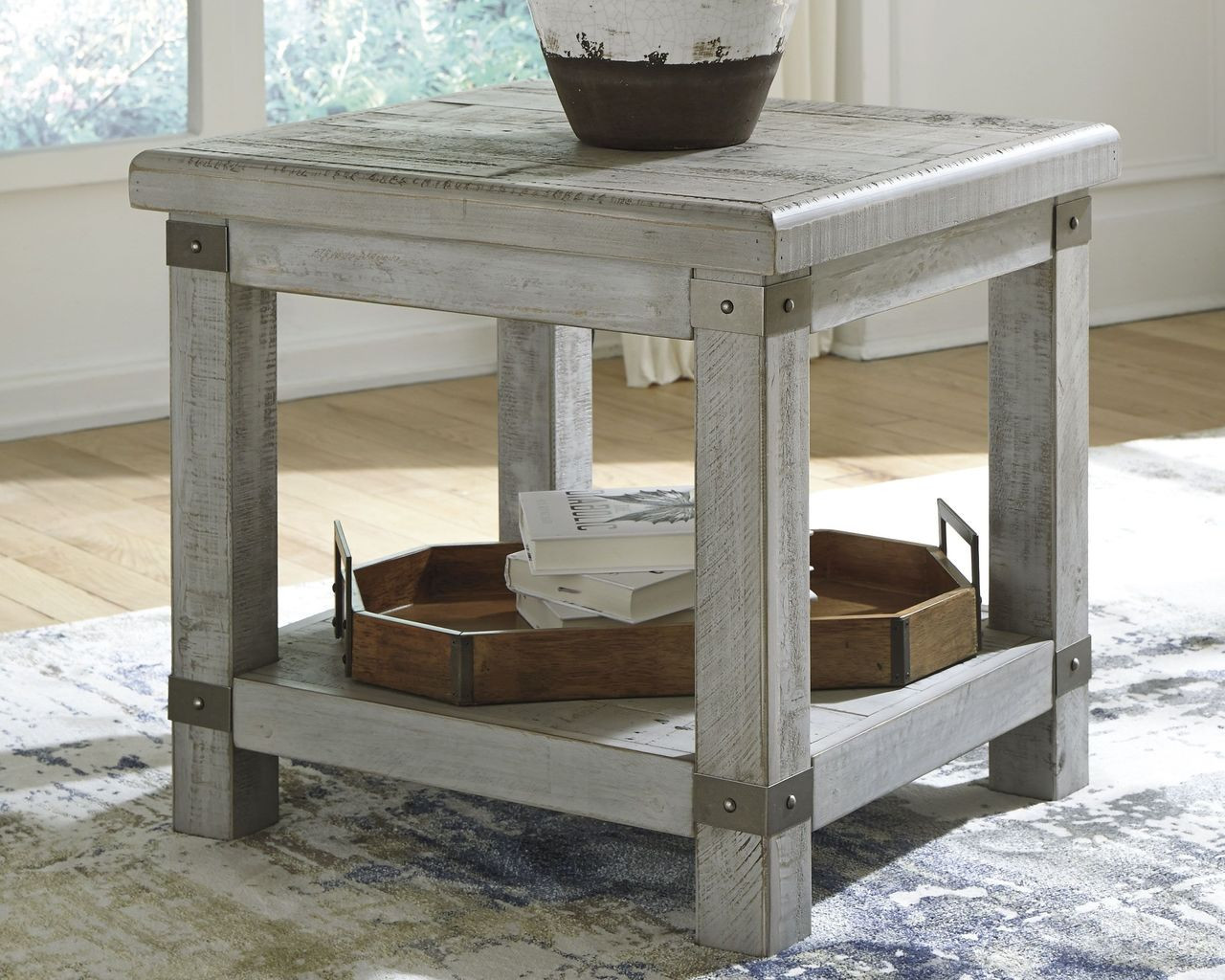 The Carynhurst White Wash Gray Rectangular End Table Available At Affordable Furniture Serving Avon Ma